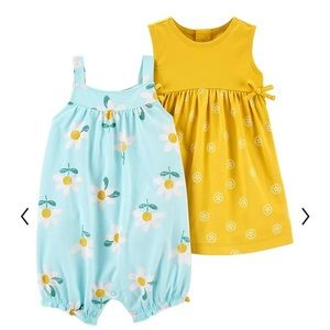 NWT 3 piece Carter's Flower Dress and Romper Combo